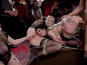 Anal Sluts Tied Down for Service at BDSM Party