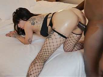 Petite NYC tattoo model Veda XXX rough fuck by BBC